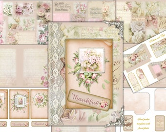 Printable Junk Journal Kit With Free Ephemera. Shabby Chic Collage sheets. Commercial Use  JPEG and PNG