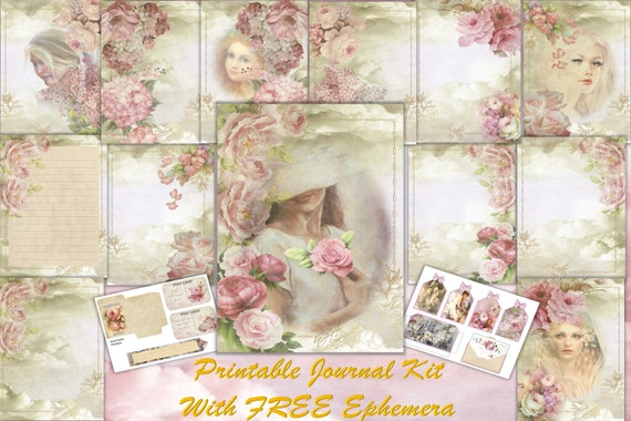 Printable Vintage Journal Kit Rustic Roses 14 Pages With Free Etsy