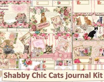 Shabby Chic Cats Journal Kit with Free Ephemera. JPEG PDF and PNG