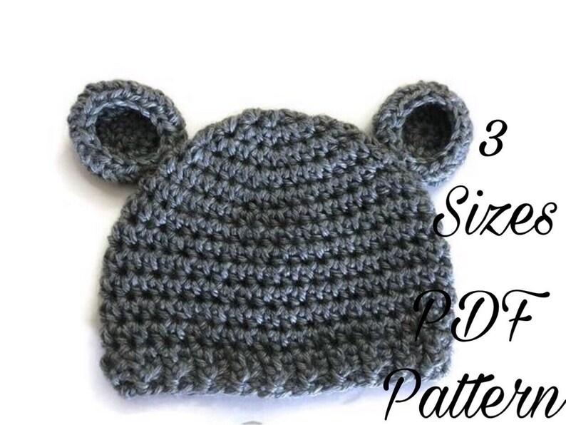 6c09be7371b PDF Bear Hat Pattern Combo  Crochet Pattern Free  Baby Hat