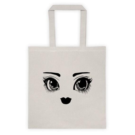 6ca5cdca21a2 Big Dolly Eyes Cotton Canvas Tote Bag
