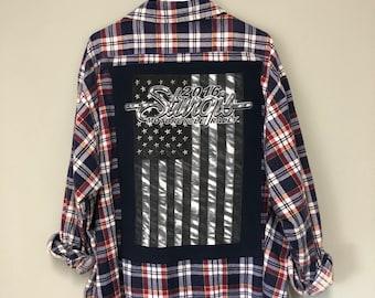 Disco Funky Unisex Goth Moto Motorcycle Grunge Hippy Woodstock 70s Semi Sheer Black Spear Collar Blouse w Waist Tie Size M Mercury USA