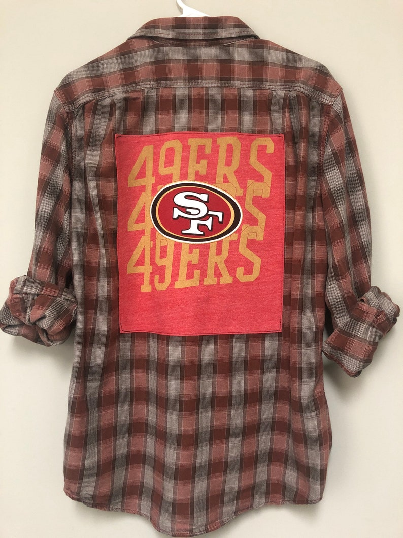 San Francisco 49ers Football Upcycled Plaid Shirt with Pearl Snaps