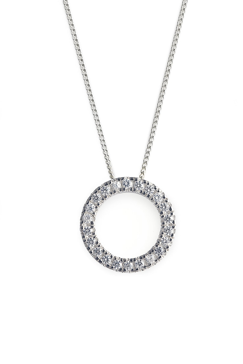 Diamond Encrusted O Bliss Pendant with Cubic Zirconia Stones and comes with Silver Chain
