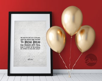 Bible verse wall art Acts 2 42 KJV And they continued   Etsy