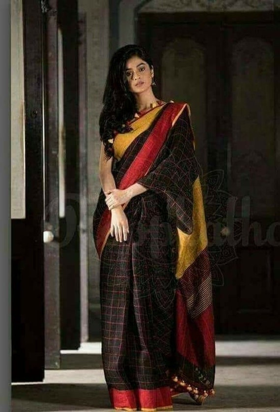 latest selection buying cheap elegant and sturdy package Linen saree Organic Linen by Linen sarees with zari Work and blouse piece  Organic handwoven 100 count Linen saree Stitched blouse on request