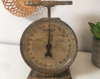 1940s Hanson Baby Scale Model #3025 Rustic Primitive Stork and Baby Design Vintage Baby Scale