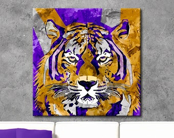 Tiger Painting, Geaux Tigers Canvas Wall Art, Geaux Tigers Print, LSU Tigers Art, Sports Art, Dorm Decor, Sports Decor, Sports Gift