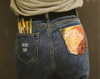 0bd3ff51e0e Gustav Klimt Custom jeans Danae mom jeans Hand painted jeans Customized  jeans Hand painted denim Handpainted clothing Custom gift for her