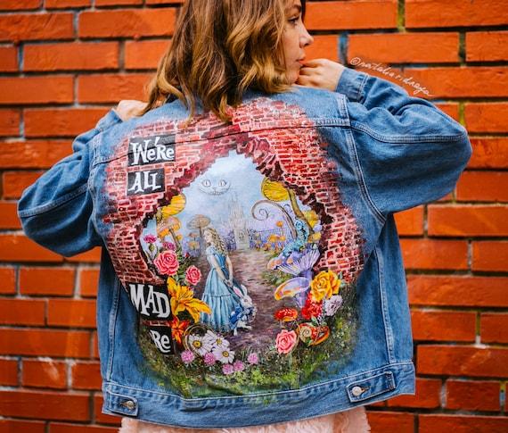 Alice In Wonderland Custom Hand Painted Denim Jacket Etsy