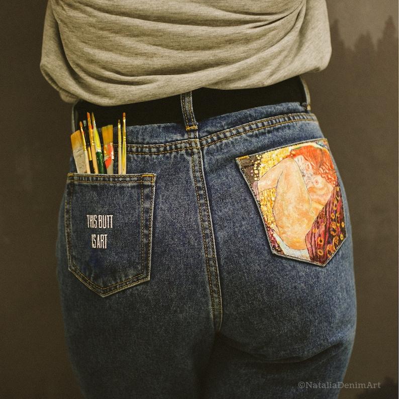 Gustav Klimt Hand Painted Denim Hand Painted Jeans Custom Jeans Pocket Painted Jeans Painted Festival Clothing Embellished Jeans Mom Jeans