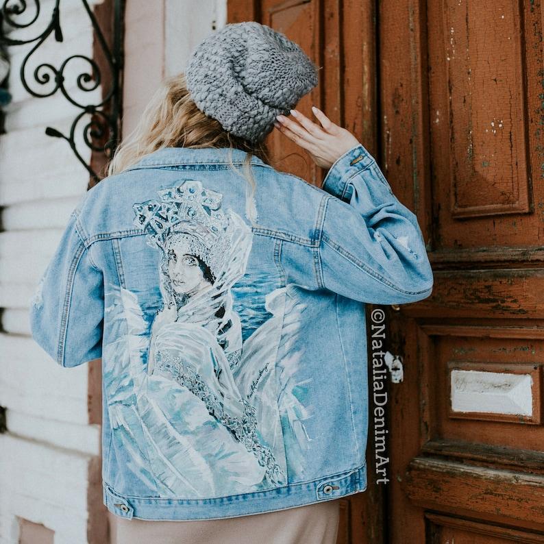Custom denim Hand painted denim Hand painted jacket Customized jacket women  Custom gift for her Festival jean jacket Hand painted clothing