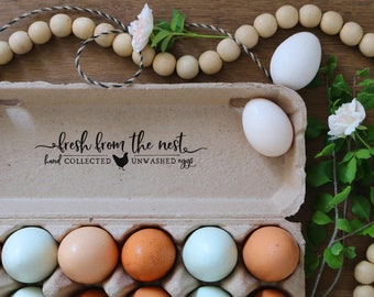 Fresh From the Nest - Unwashed Egg Carton Stamp - Hand Collected Egg Stamp - Chicken Eggs Stamp - Unwashed Egg Stamp