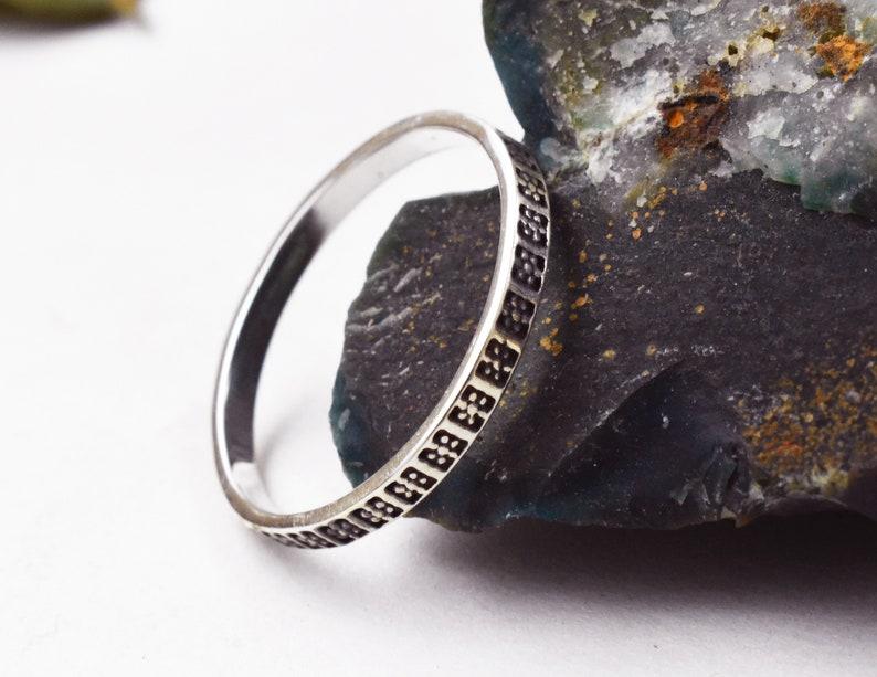 Sterling silver ring 925 Plain band,Boho thin band,Midi Ring,Wedding Ring Pattern Ring,Thumb Ring,Stacking Ring with Oxidizing  Finish .