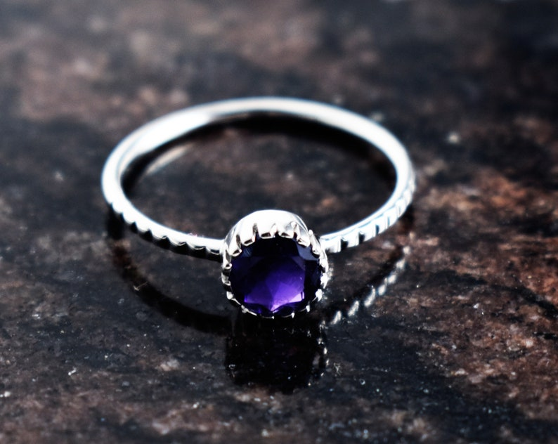 InshineJewelsSterlingSilverRing,Februaryring,Gemsstone Ring,Stacking Ring,Purple Ring,SilverDaintyRing,AmetyhystEngagement Ring,WhiteRhodium