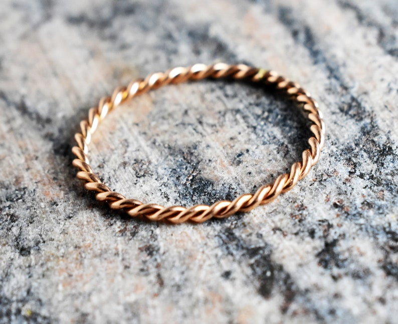 InshineJewels 10K Twisted Wire Ring,Gold Twisted Band Ring,Minimal Twisted Ring,10K Gold Rope Ring.