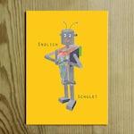 "Postcard ""Finally school"" robot, school bag, start of school, training, schools, gift"