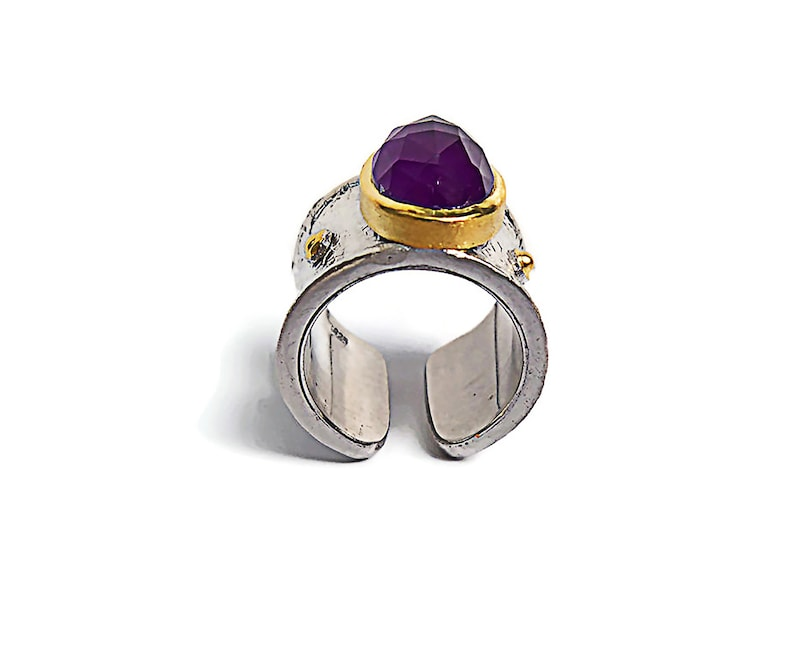 Sterling silver ring gold plated with Amethyst stone