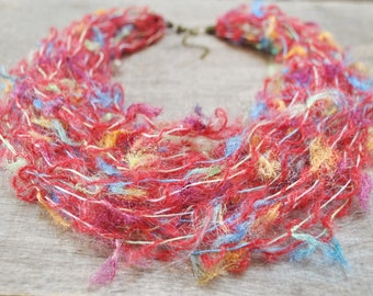 art yarn necklace, multicolor autumn necklace, statement fiber necklace with tiny tassels, artsy bohemian jewelry, cozy gift for christmas