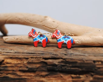 swedish dala horse earrings, cute animal earrings dangle, traditional scandinavian jewelry, gift for horse lover, best friend christmas gift