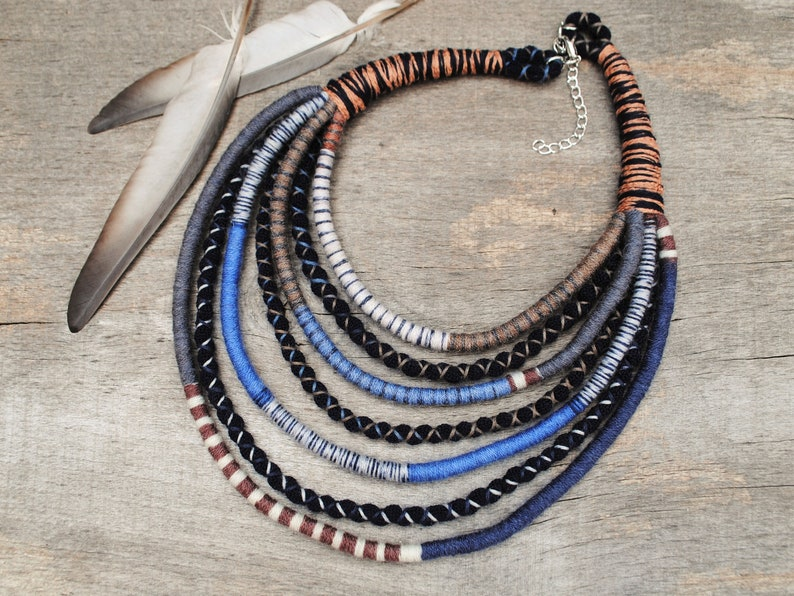 yarn and fabric jewelry for bohemian women unique eco gifts hand woven multi rope african necklace native tribal style necklace
