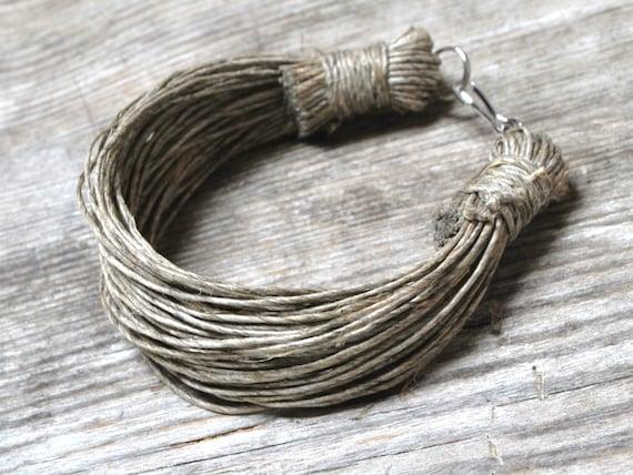 choose your color simple raw bracelet Organic with purple natural linen cord bracelet gift for vegan women women eco jewellery