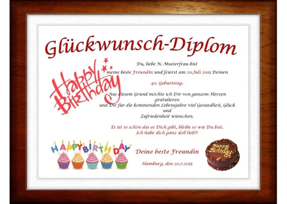Birthday Diploma For A Great Person