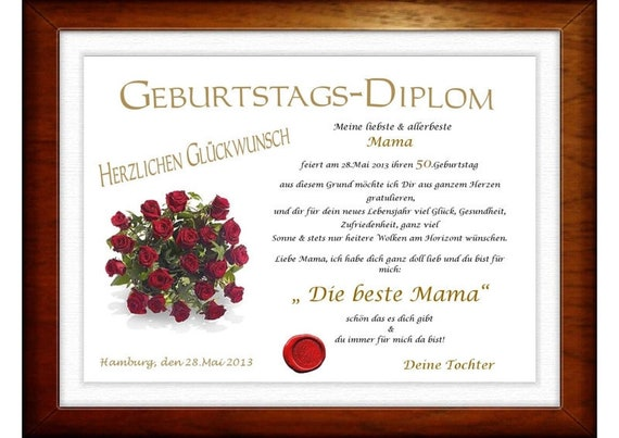 Diplom Zum 50 Geburtstag Fur Die Beste Mama Etsy