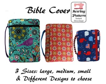Bible Cover Pdf Sewing Pattern, Digital Sewing Pattern, Zippered Bible Case, Book Cover, Bible Organizer, Book Holder, LARGE, MEDIUM, SMALL
