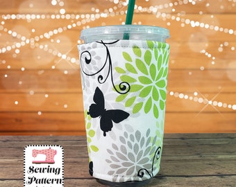 Cup Cozy SEWING PATTERN PDF, Cold Drink Sleeve, Starbucks coffee cozy, coffee Koozy, Cup Sleeve, Coffee Cozy, Cup Insulator, Cup Cover