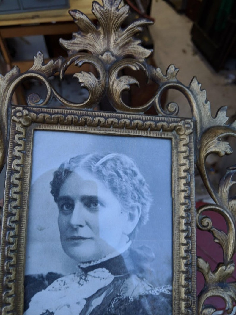 Antique Victorian Brass Plated Picture Frame wPhoto