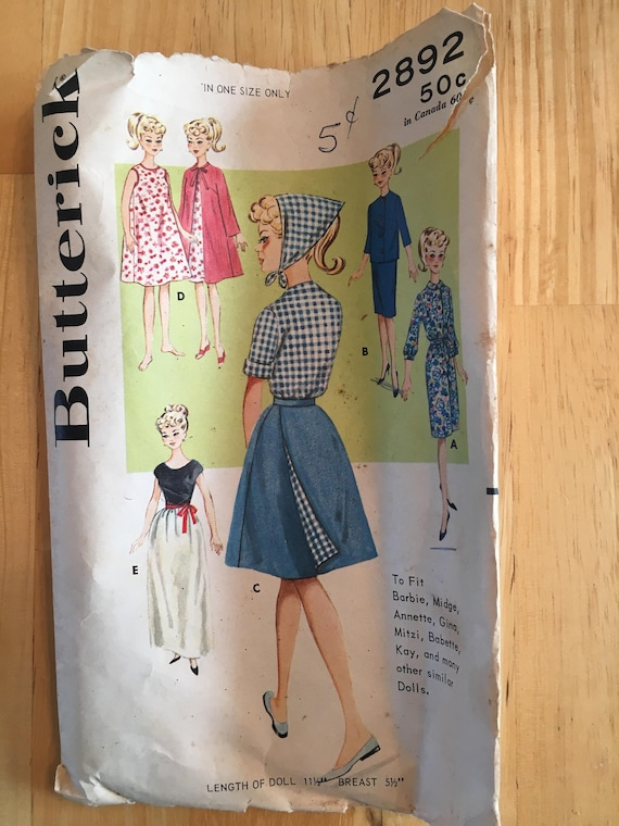 Butterick Vintage Pattern # 4329 A NEW Fashion Doll Barbie Clothes