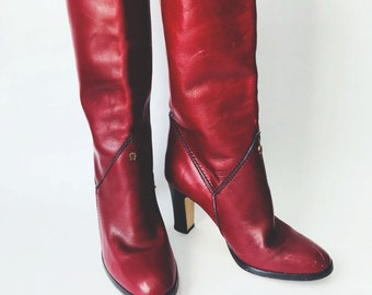 4f3c77c81 Vintage Etienne Aigner Tall Burgundy Riding Boots