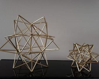 Set Of 2 Himmeli Geometric Star Decorgold Silver OrnamentshangingHome DecormodernHimmeli Sculpture By Ana Paula Martins