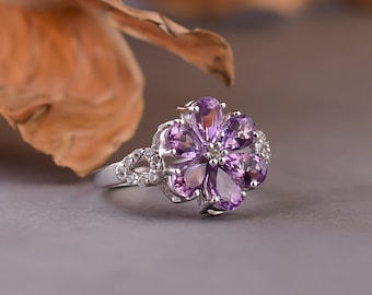 925 Sterling Silver Ring  Size US 7.75  Purple Stone Flower Ring  Bridal Wedding Silver Ring  Engagement Ring  Gift For Her  SL123