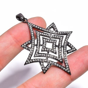 Cubic Zircon Gemstone,Designer Victorian Style,Pave Jewelry,925 Solid Sterling Silver Pendant Size 1.2 Weight-6.80 Gm PJ-366