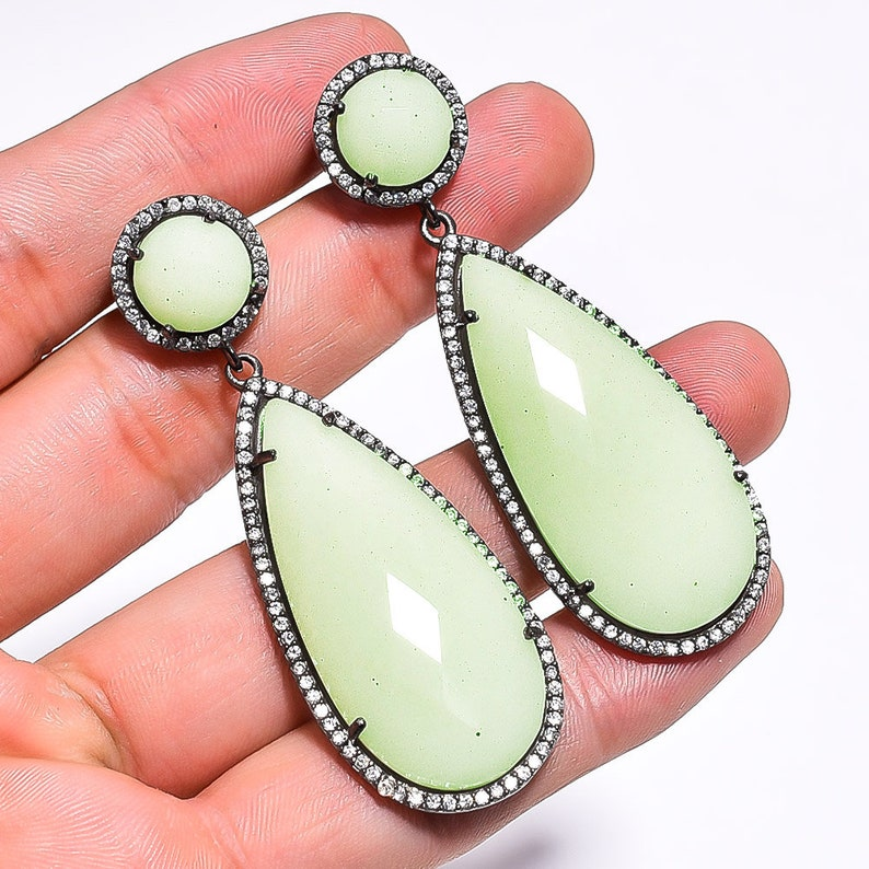 Peru Green Chalcedony Gemstone Designer Victorian Style Pave Jewelry 925 Solid Sterling Silver Earrings 2.4 Weight-24.70 Gm PJ-312