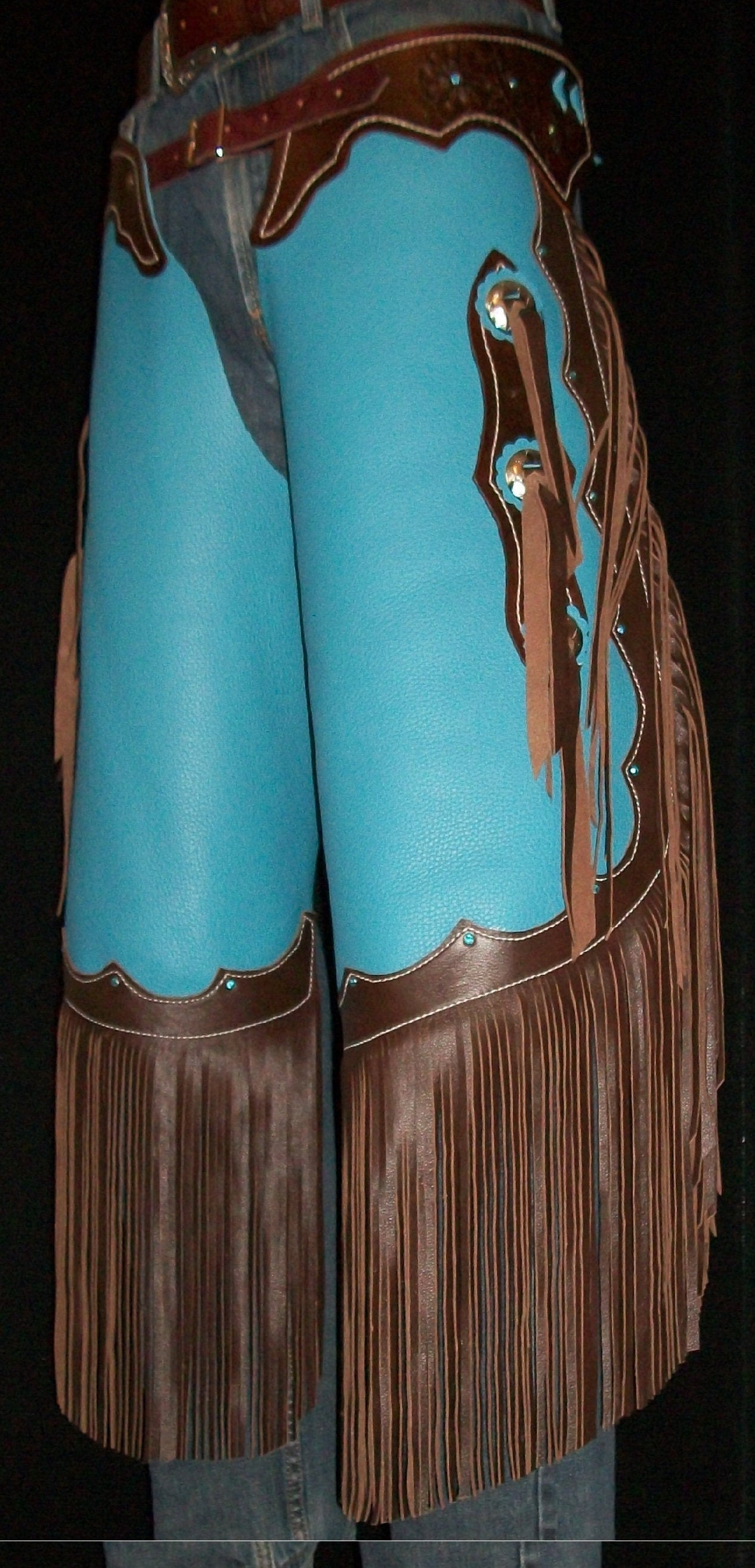 Custom Made Leather Chinks/New Chaps/ Floral Carved/ Bling/Turquoise/R Bar K
