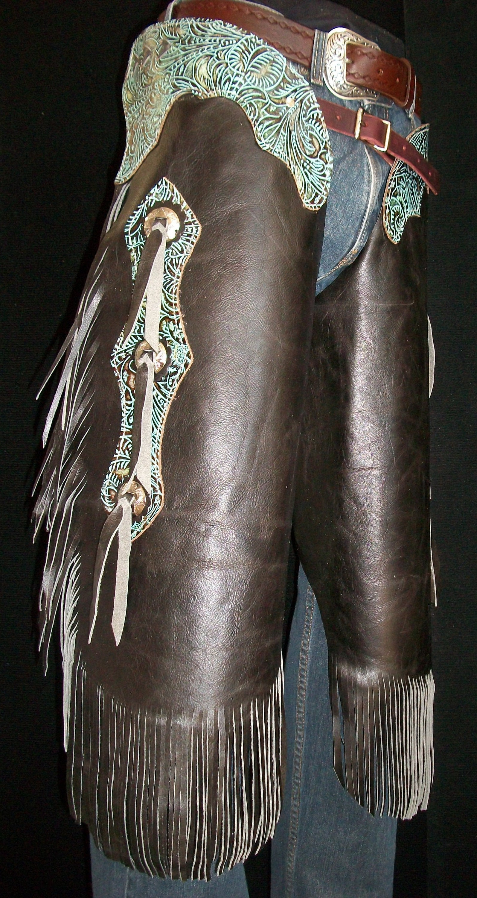 Custom Made Leather Chinks/New Chaps/Distressed/ Turquoise/R Bar K