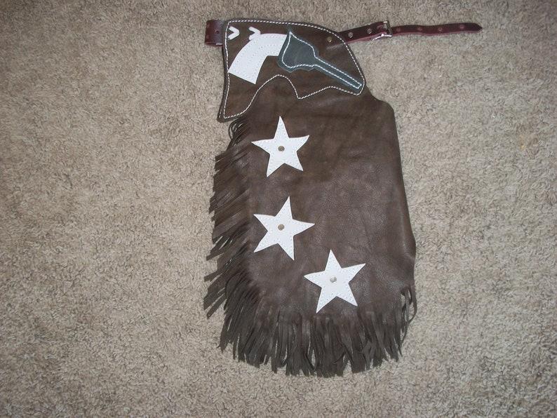 Custom Made Leather Youth ChinksSix Gun CowboyNewR Bar K
