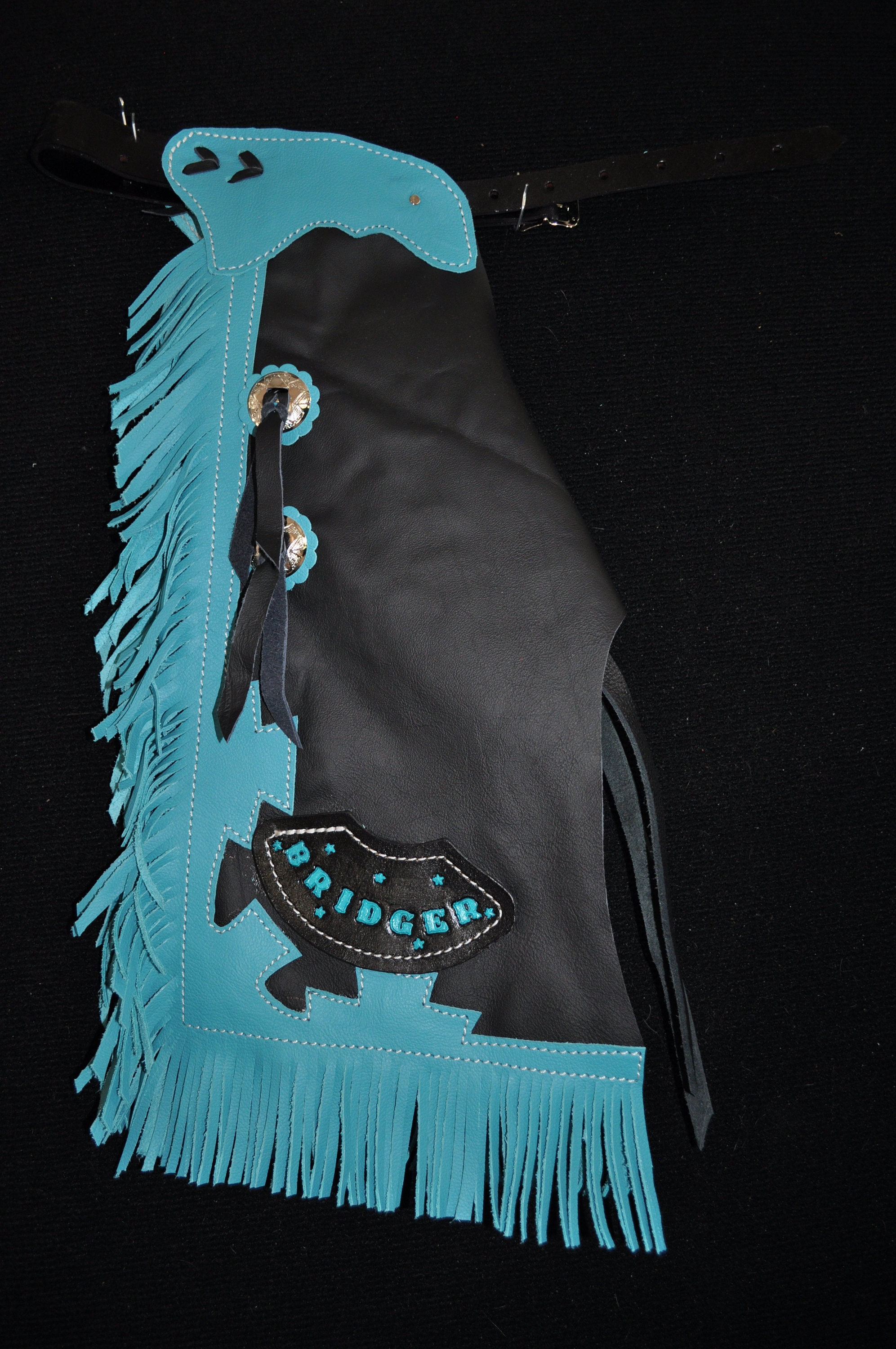 Custom Made Kid's Bronc/Bull Riding Chaps/ New/ Custom Leather/ Rodeo Chaps/R Bar K/Personalized