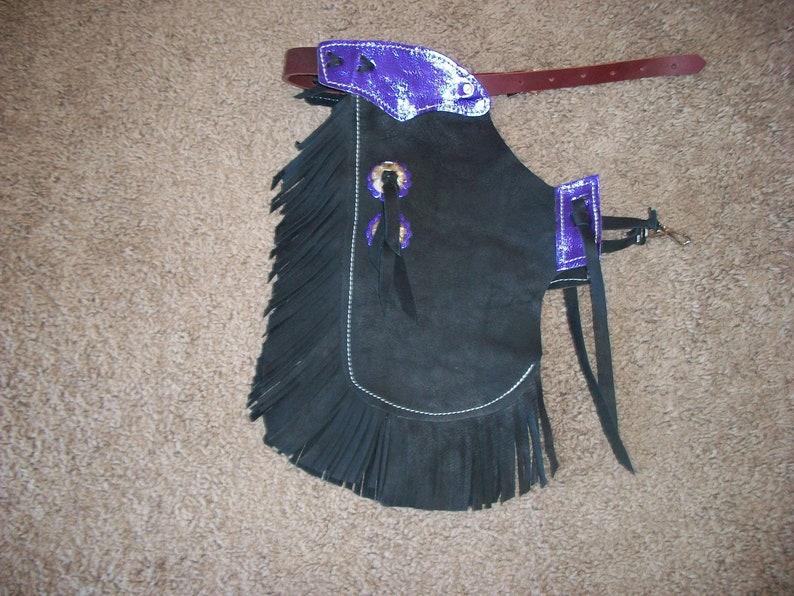 Custom Made Leather Youth ChinksNew Metallic PurpleR Bar K