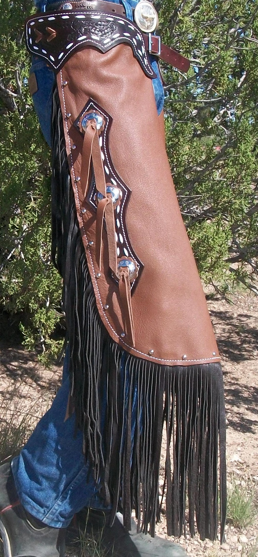 Custom Made Leather Show Chinks/New Chaps/ Buck Stitched/Studs/R Bar K