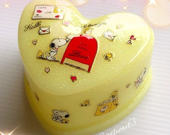 Snoopy and Woodstock Hand Painted Glass Trinket Box Grass effect finish to base and red lid