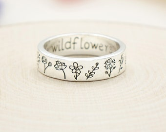 Wildflowers Ring - Rings for Women - Flower Ring - Hippie Ring - Daisy Ring- Boho Rings -Minimalist Band Ring-Fairycore Rings-Gift for Her