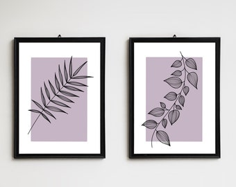 Black White Purple Print Tree Moon Contemporay Purple Gray Bedroom Wall Matted Picture