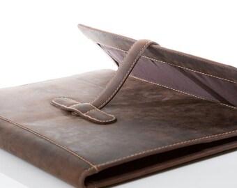 207 Schreibmappe A4 Vintage-Leder  dunkelbraun   Sonderpreis