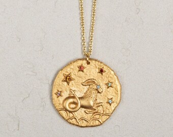 2961ce5ab 14k gold coated silver Zodiac sign coin necklace, capricorn necklace