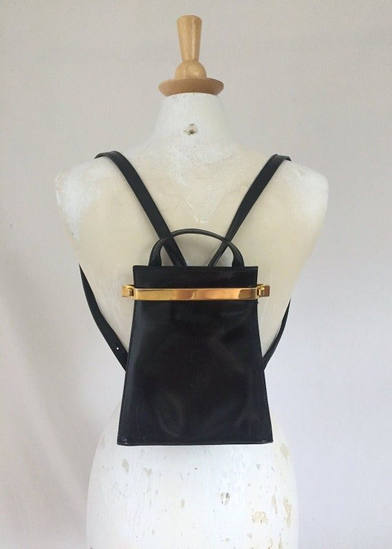 90s vintage patent leather mini backpack purse, bl