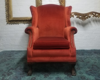 Delicieux Vintage Red Velvet Wingback Chair   Antique Wingback Chair In Orange Velvet